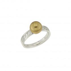 Bague Elsa Lee Paris en Argent 925, perle dorée entourée de 8 oxydes de Zirconium sertis clos
