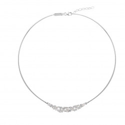 Elsa Lee Paris fine 925 sterling silver rigid necklace - different sizes of clear Cubic Zirconia