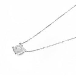 Collier Elsa Lee Paris, collection Tradition, chaîne en argent avec un oxyde de Zirconium blanc serti griffe
