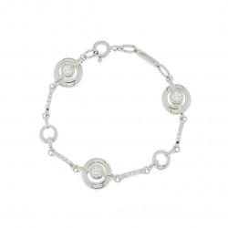 Bracelet Ondine en argent rhodié et zirconiums