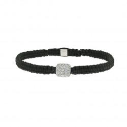Bracelet Tressé Elsa Lee Paris, oxyde de Zirconium serti clos sur cordon noir
