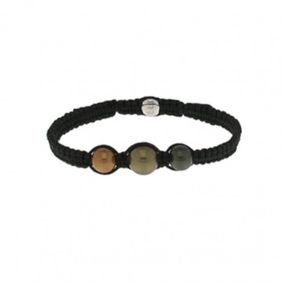 d6086cf39734b4 Bracelet in rhodium silver and zirconium on black braided cord