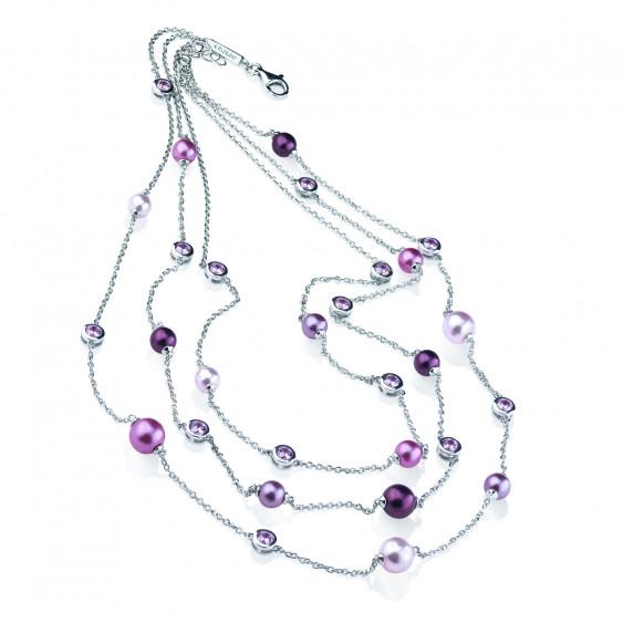 """Collier Elsa Lee Paris en """"Argent 925"""" - 4 perles bordeaux, 4 perles roses claires, 4 perles mauves, 4 perles roses poudrés, acc"""