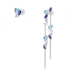 Boucles d'oreilles asymétriques Aquamarine