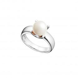 Bague perle blanche solitaire en argent 925 par Elsa Lee Paris