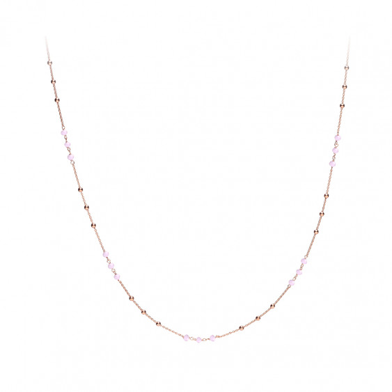 Rose gold plated necklace and bohemian style pink pearls