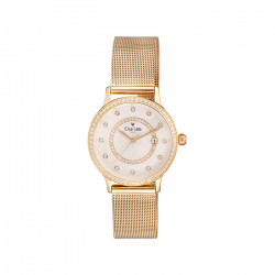 Golden milanese mesh watch by Elsa Lee
