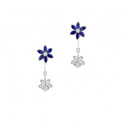 Sapphire Daisy Ear Jacket Earrings