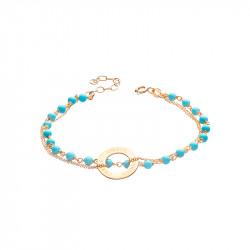 Bracelet chapelet turquoise et or jaune style bohème