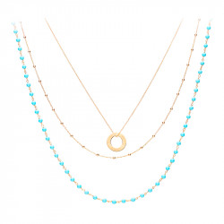 Bohemian turquoise and yellow gold 3 row necklace
