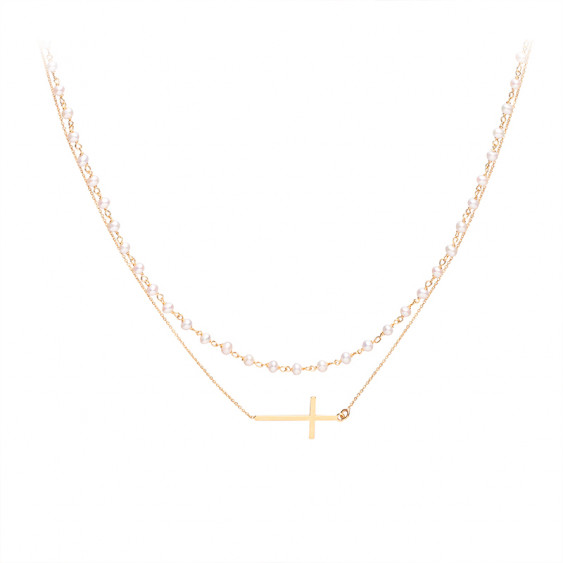 Cross necklace and white rosary on yellow gold plated chain