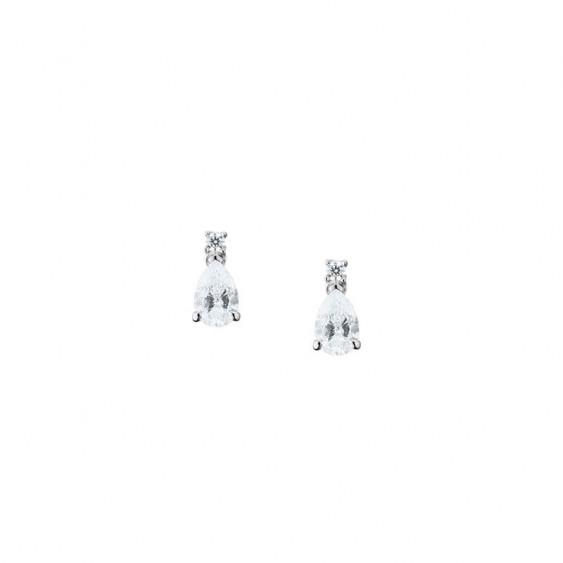 Boucles d'oreilles pendantes Elsa Lee Paris, collection tradition, en argent 925, oxydes de Zirconium tailles poires sertis grif