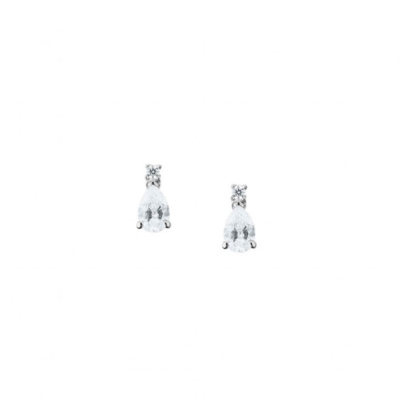Elsa Lee Paris sterling silver earrings with two claws set pear-shaped clear Cubic Zirconia and two diamond cut Cubic Zirconia