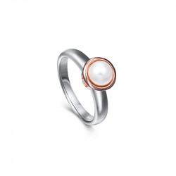 Bague Elsa Lee Paris, collection Memory, en argent 925, une perle blanche 6mm entourée de son socle rhodié rose