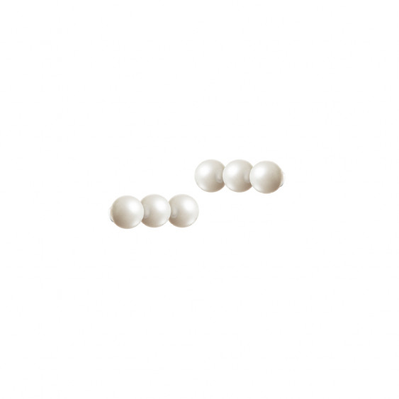 Boucles d'oreilles trois perles blanches sur ligne verticale collection Elsa Lee Paris