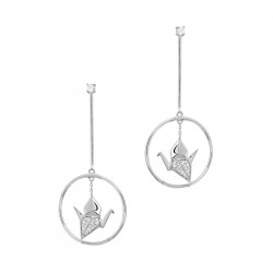 Origami Crane Dangling Earrings