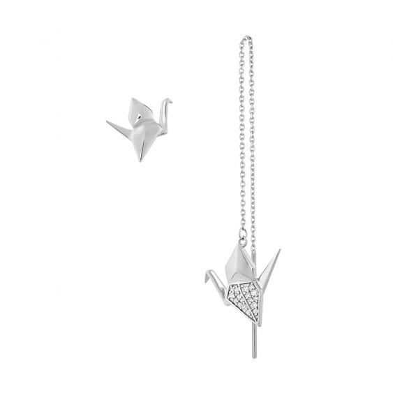 Origami Crane Asymmetrical Earrings
