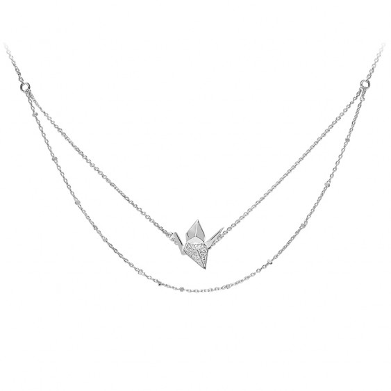 Swan Necklace Sterling Silver Pink Gold Plated | Origami Jewellery ... | 563x563