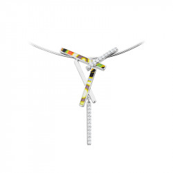 silver necklace with colourful design by Elsa Lee Paris