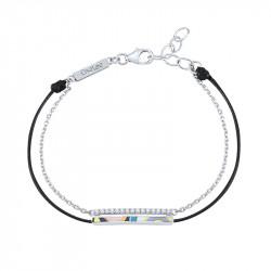 Bracelet émail de couleur sur cordon noir et chaîne en argent par Elsa Lee Paris