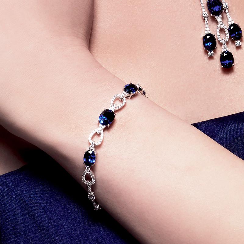 bracelet argent saphir bleu