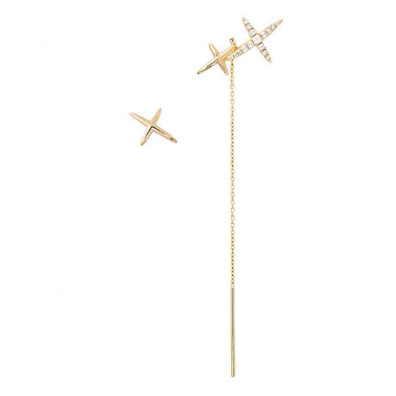 Asymmetrical dangle earrings cross yellow gold-plated Stella