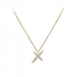 Collier chaîne forçat pendentif étoile plaqué or jaune