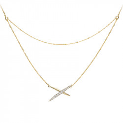 Yellow gold plated cross necklace on double chain
