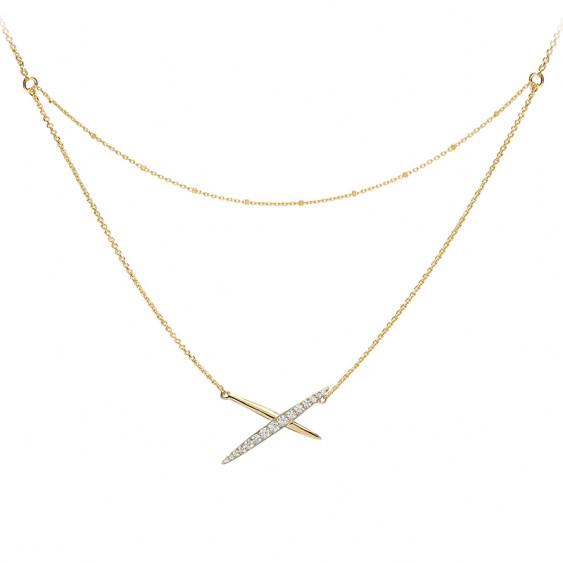 Collier croix plaqué or jaune sur double chaîne
