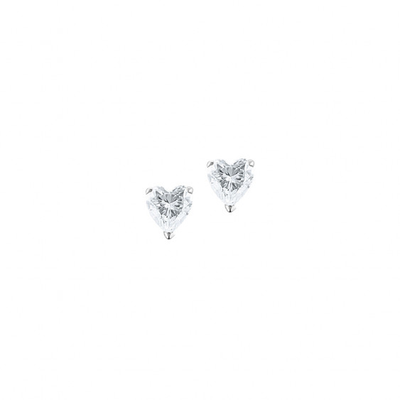 Boucles d'oreilles Elsa Lee Paris, collection Tradition, en argent et oxydes de Zirconium forme coeur sertis griffe
