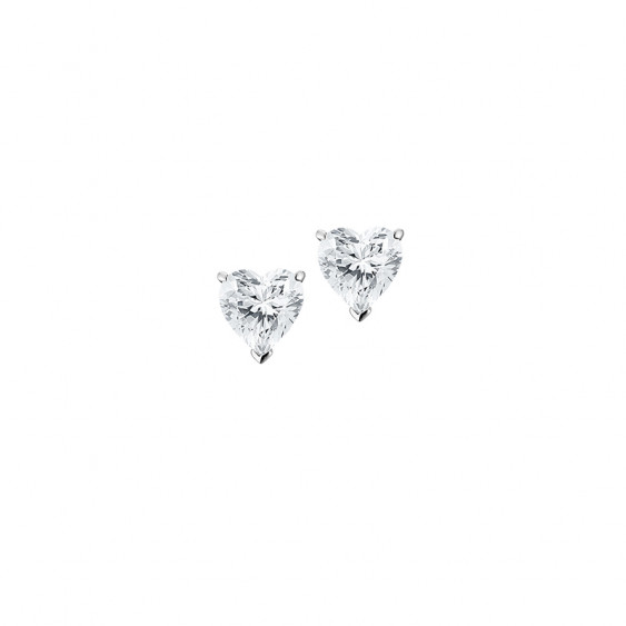 Elsa Lee Paris sterling silver earrings with two heart shaped claws set clear Cubic Zirconia