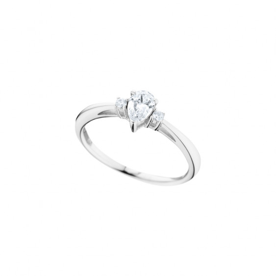 Elsa Lee Paris sterling silver ring, pear-shaped Cubic Zirconia centerpiece and two small ones around it