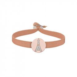 Bracelet Tour Eiffel médaillon en argent plaqué or rose, lien élastique beige