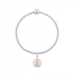 Bracelet Tour Eiffel médaillon en argent, lien élastique beige