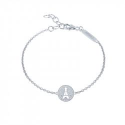Bracelet Tour Eiffel en argent, Médaillon pavé