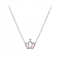 Collier couronne de princesse en argent et or rose de la collection Queen
