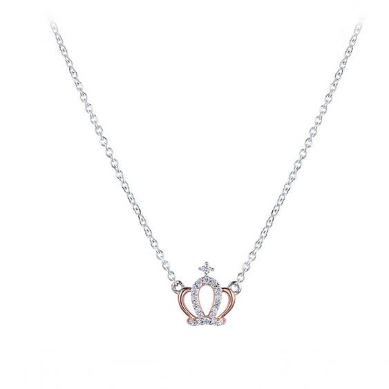 Collier couronne de princesse en argent et or rose de la collection Queen