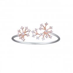 Bracelet jonc motif fleur en argent et or rose par Elsa Lee Paris