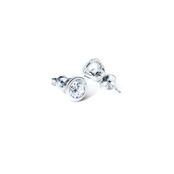 Boucles d'oreilles puces Elsa Lee Paris, collection tradition en argent massif et oxydes de Zirconium sertis clos