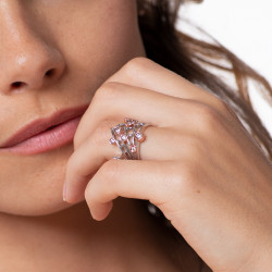 Silver Spider Web Ring Set with Pink Flash Closure by Elsa Lee