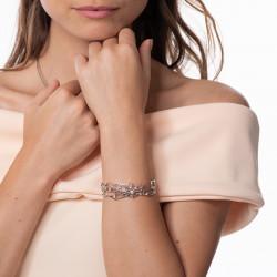 Bracelet manchette toile d'araignée en argent sertis clos flash rose par Elsa Lee