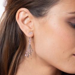 Boucles d'oreilles toile d'araignée en argent sertis clos flash rose par Elsa Lee