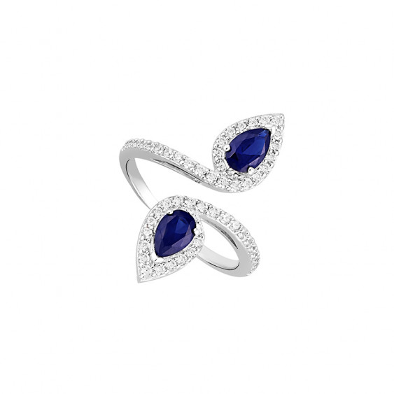 Sapphire pear shaped cubic zirconia, silver open ring by Elsa Lee Paris