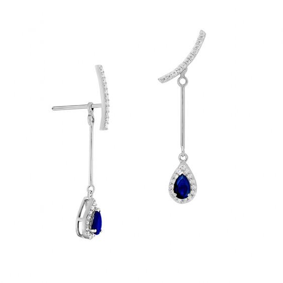 Marine Sapphire pear shaped ear jacket earrings by Elsa Lee Paris