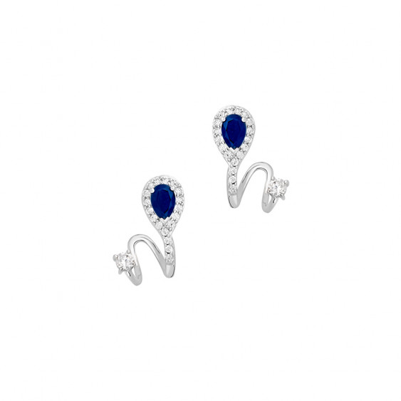 Marine Sapphire Ear Jacket Earrings
