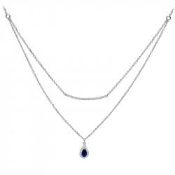 Collier saphir goutte d'eau en argent et son pendentif taille poire couleur bleue