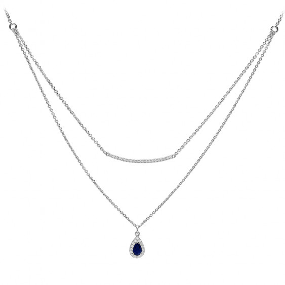 Sapphire blue teardrop or pear shaped double row necklace in 925 silver by Elsa Lee Paris
