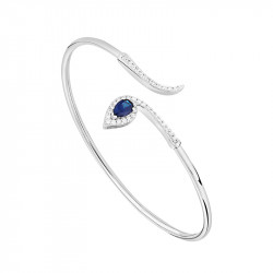 Bracelet jonc saphir taillée en poire et argent 925, modèle semi-ouvert