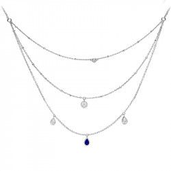 Sapphire color triple chain necklace cut in dropand silver by Elsa Lee Paris