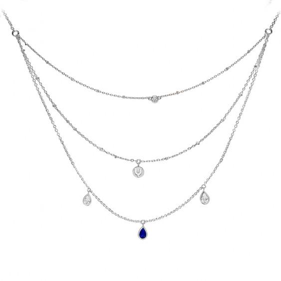 Sapphire color triple chain necklace cut in dropand silver by Elsa Lee Paris